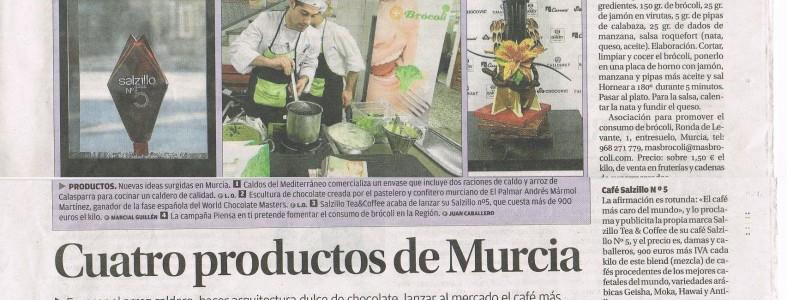 Cuatro productos de Murcia. Envasar el arroz caldero, hacer arquitectura dulce de chocolate, lanzar al mercado el café más caro del mundo y fomentar el consumo de brócoli son cuatro nuevos proyectos nacidos en la Región.